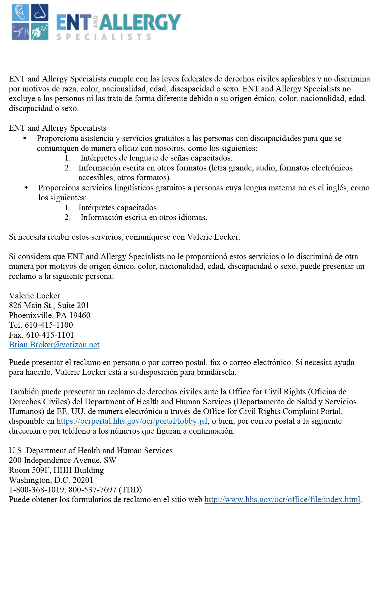 Microsoft Word - ENT Non-discrimination Espanol.docx